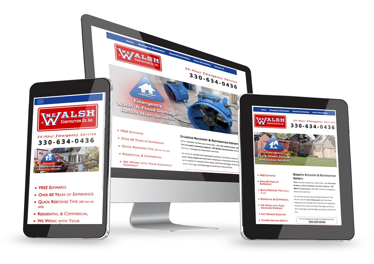 Website design and search engine optimization for the N.E. Walsh Construction Co.