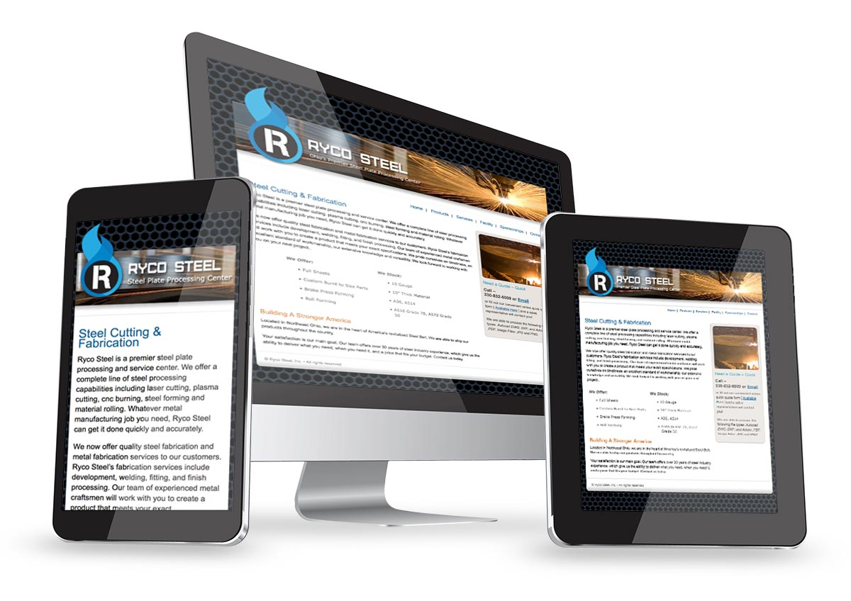Website design and search engine optimization for Ryco Steel.